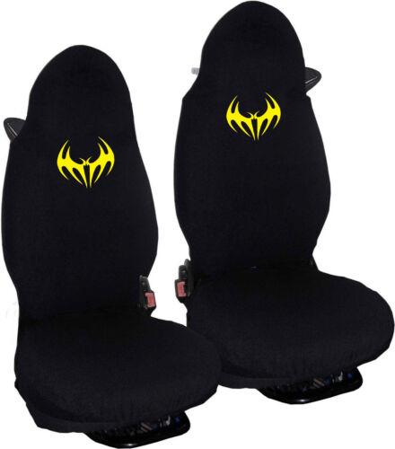 Sitzbezüge für Autos Stoff schwarz mit gelb  Logo  Schläger # 2 SMART