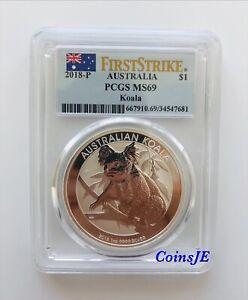 2018-P Australia 1 oz Silver Koala $1 Coin PCGS MS69 First Strike Australia Flag