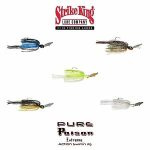 Strike-King-Pure-Poison-Vibrating-Bladed-Swim-Jig-Select-Size-Color-s