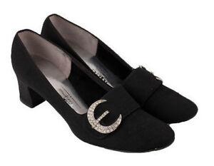 Vintage 1960s 70s Black Rhinestone Crescent Moon Shoes Heels Mod