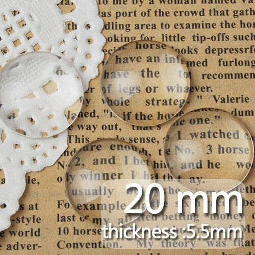 100Pcs 20MM Clear Round Flat Back Crystal Glass Dome Cabochons C1058