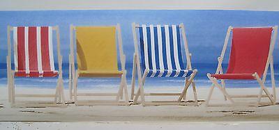 "YORK BEACH CHAIRS SEASHORE Sure strip Wallpaper Border 6"""