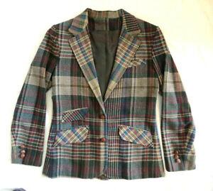 Vintage-Plaid-Blazer-Jacket-G-J-Forbes-WOOL-tan-blue-red-w-2-front-pockets-9-10