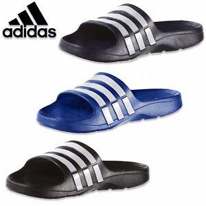 94299265e132 Adidas Mens Summer Duramo Slider Flip Flops Grey Black Navy White