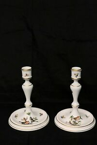 Candle-holders-Herend-Rothschild-Bird-hand-painted-porcelain-free-shipping