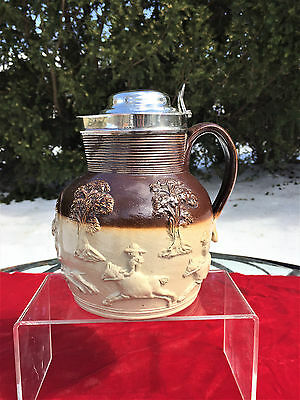 English Royal Doulton Lambeth Stoneware & Sterling Silver Pitcher Jug 1896