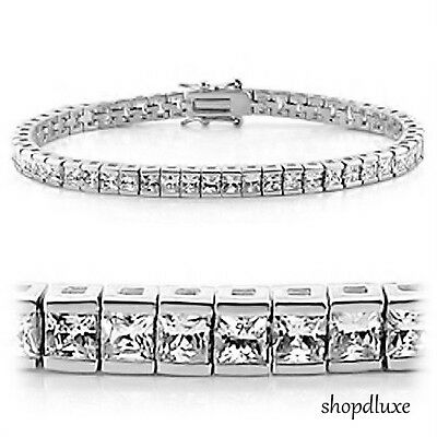 "9.15 Ct Princess Cut Sterling Silver AAA Cubic Zirconia 7"" or 8"" Tennis Bracelet"