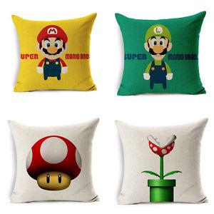 18-Super-Mario-Luigi-Linen-Cushion-Cover-Pillow-Case-Throw-Car-Bed-Sofa-180g