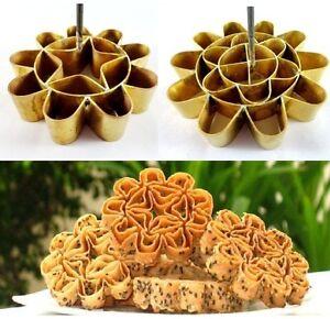 Thai Traditional Dessert Dok Jok Lotus Flower Shaped Cookies Brass