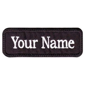 Rectangular custom embroidered name tag hook fastener for Embroidered tags personalized