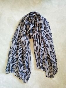 Women-Large-Grey-Leopard-Animal-Print-Lightweight-Soft-touch-Everyday-Scarf-UK