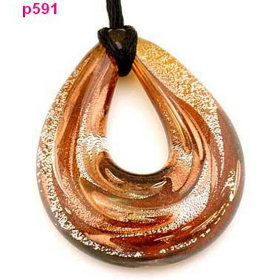 one handmade Baroque art glass beaded pendant Necklace p591