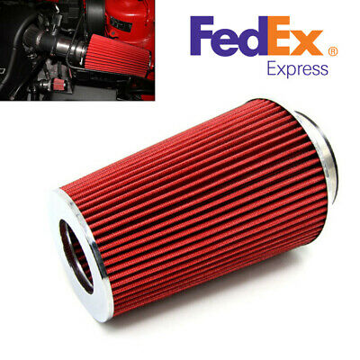"RED UNIVERSAL 3/"" TALL CONE AIR FILTER FOR BUICK//GEO AIR INTAKE+PIPE"