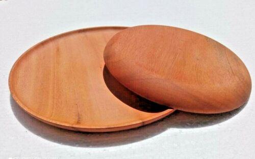 Wooden Plates Dish Serving Round Tray Wood Dessert Dinner Fruit Kitchenware