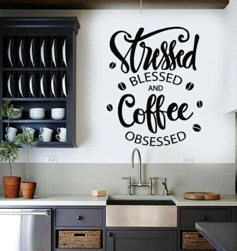 g2906 Details about  /Vinyl Wall Decal Coffee Lover Obsessed Phrase House Beans Cafe Stickers