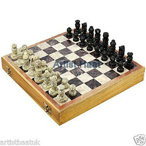 Artist-Haat-10-034-Wooden-Storage-Box-Stone-Chess-set-Hand-crafted-Stone-Daughts