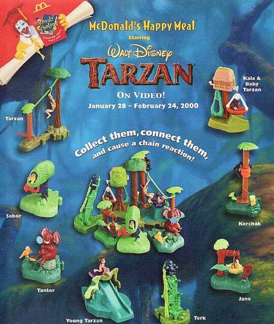 MCDONALD'S 2000 DISNEY'S TARZAN ON VIDEO SET OF 8 MIP - 3 NEW HAPPY MEAL BAGS!