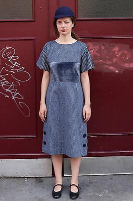 Donna Abito Dress Blu Blue White Strisce Bianco 60er True Vintage 60´s Women-mostra Il Titolo Originale Regalo Ideale Per Tutte Le Occasioni