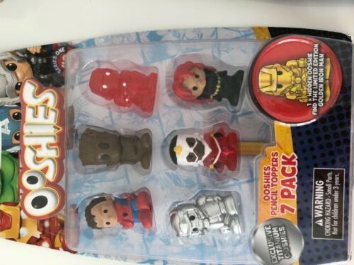 Kids OOSHIES 7 pack Collection Marvel Exclusive Titanium Pencil Toppers Set