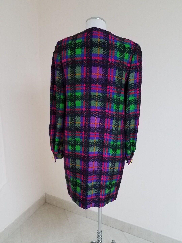 David Hayes Dress Silk Long Sleeve Multicolor Squares Sz. 4 4 4 7e82b1