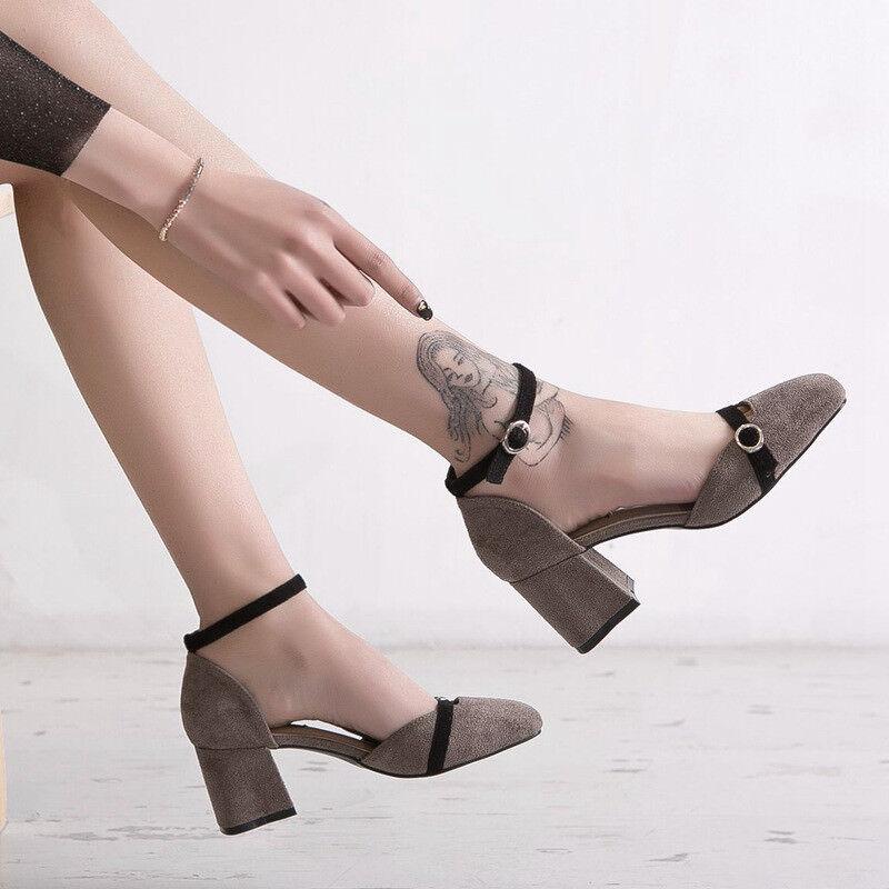 Pumps 6 cm elegant grau absatz absatz absatz quadrat sandalen simil leder 9908   b83a6e