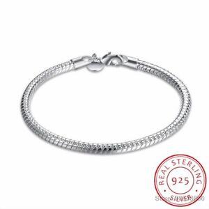 925-Sterling-Silber-4mm-Schlangen-kette-Armband-4-Frauen-Neuester-edler-Schmuck