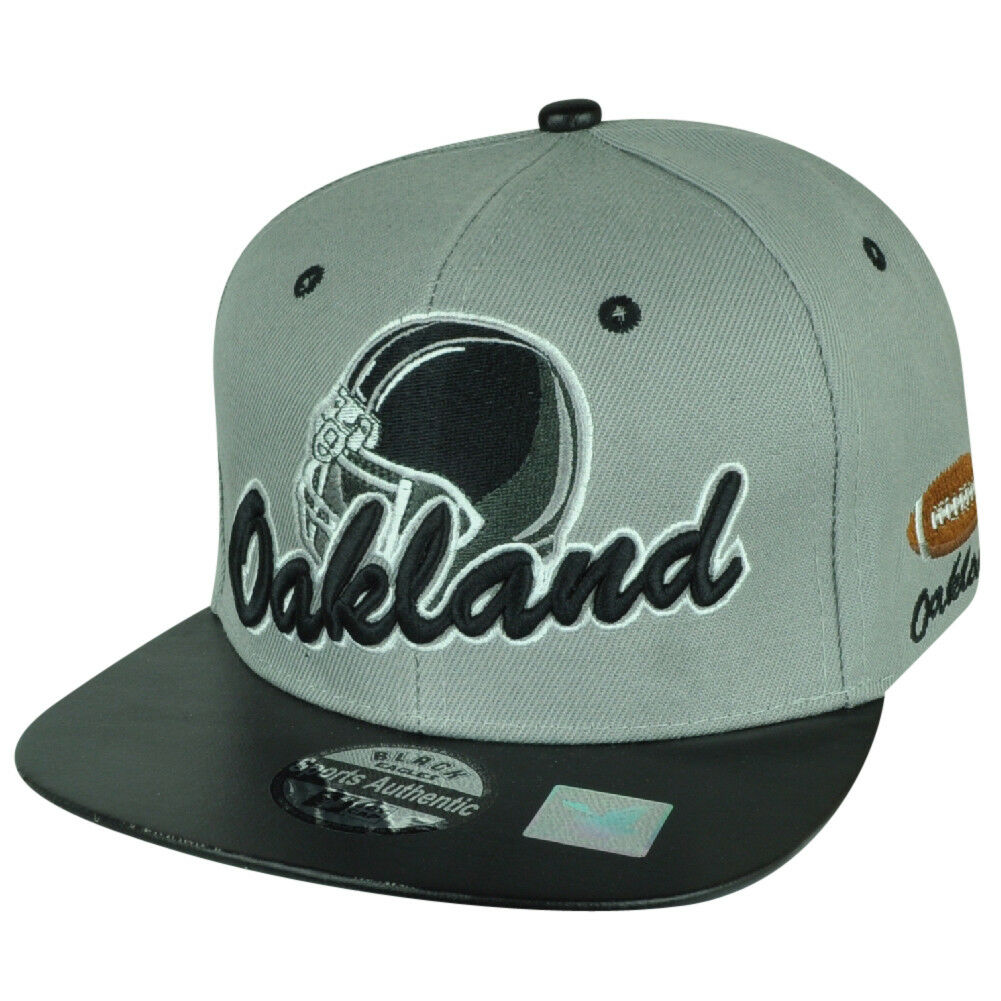 Black Eagles Oakland Football Gray Deux Tons Noir Snapback Noir Tons Visière Plate df1317
