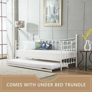 GLOSSY VANILLA DAY BED VERSAILLES WHITE, BLACK, TRUNDLE, MATTRESSES, DAYBED