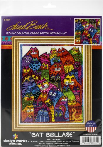 """14 Count Design Works Counted Cross Stitch Kit 12/""""X16/""""-Cat Collage"""