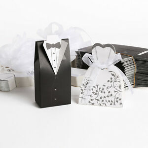 100 x hochzeit deko gastgeschenk kartonage braut br utigam anzug geschenkbox ebay. Black Bedroom Furniture Sets. Home Design Ideas