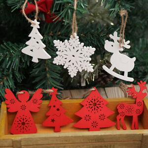 Nordic Christmas Wooden Snowflake Star Xmas Tree Pendant Christmas Decor Supply
