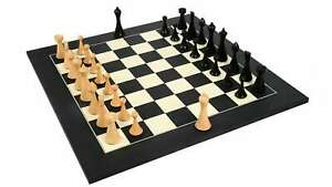 """Chess Pieces in Ebonized Boxwood & Box Wood - 3.75"""" King with Wooden chess Board"""