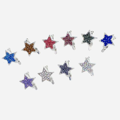 USA Small STAR Magnet Hair Clip Hairpin  Rhinestone Crystal Barrette Dark Brown