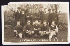 RARE 1915 HEXTHORPE LINDUM 1914-1915 JUNIOR FOOTBALL TEAM POSTCARD DONCASTER P/M