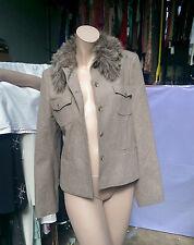 Lovely Mexx Stone Pale Grey  Wool Smart  Jacket Blazer  Faux Fur Collar UK 14