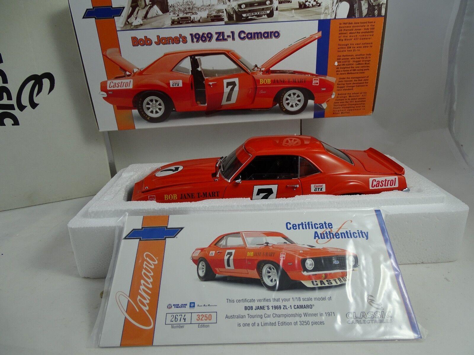 1 18 Classic Carlectables Bob Jane ´S 1969 Zl-1 Camaro Rareza