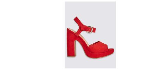 M/&S COLLECTION insolia black red Platform ankle Heel Sandals uk size 3-9