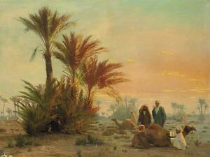 arab man desert camel scenery painting canvas print art decoration