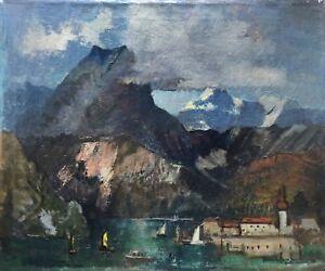 Richard-Gessner-1894-1989-at-Konigssee-with-Alpenpanorama-Dusseldorf-61X51