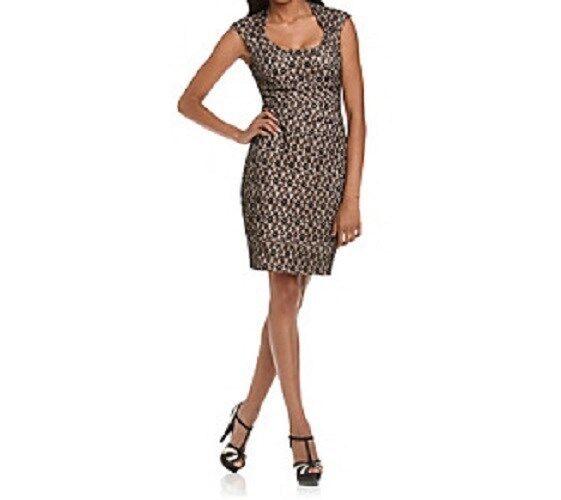 Sangria Kleid 10 Schwarz Spitze über Hautfarben Abendessen Cocktail