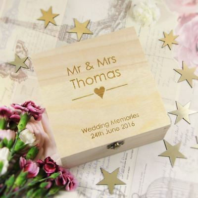 Personalised Wedding Memory Box Inciso Cuore In Legno Ricordo Box, Regalo Di Nozze- Carino E Colorato