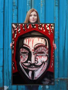 NEO-Street-Art-Graffiti-Print-Urban-Anonymous-Poster-Wall-V-Vendetta-Dada-Red