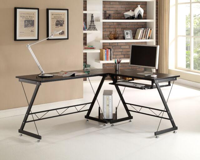 Black White Beech Computer Desk PC Table Home Office Furniture Corner L-Shape