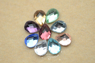 100 PCS 6mm x 8mm Tear Drop Glass Faceted Glass Flat Back Jewels