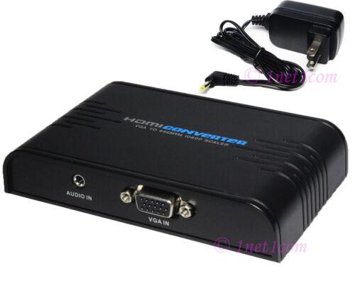 VGA Stereo Audio to HDMI HDTV 1080P Upscaler Scaler Video Converter PC  Adapter