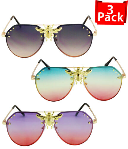 Sunglasses Big Bee Metal New Vintage Oversize Gradient Shades Summer Frame Men