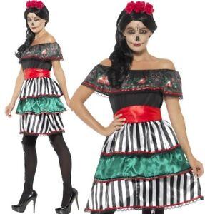 Halloween-femmes-jour-de-the-dead-senorita-Poupee-costume-deguisement-Par
