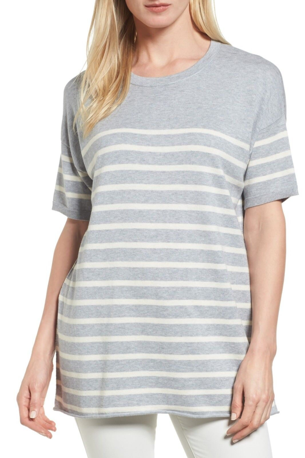 Eileen Fisher Dark Pearl And White Stripe Organic Cotton Sweater Size X-Large