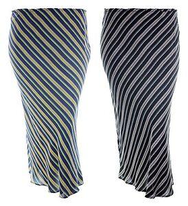New-ladies-plus-size-striped-print-skirt-elastic-waist-black-white-navy-yellow