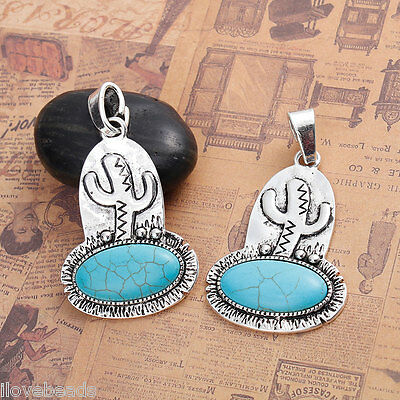 1PC Silver Tone Cactus Pattern Metal Pendants with Turquoise Acce 6.8x3.9cm